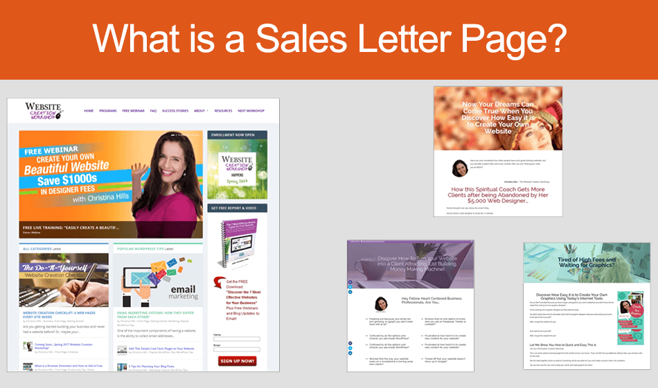 What is a sales letter page website creation workshop for Best websites for sales